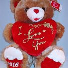 Anniversary Love Special Occasion Dated 2016 Cute Brown I Love You Teddy Bear with Red Heart