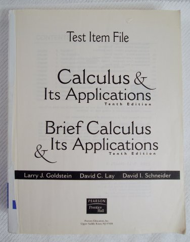 Test Item File for Calculus & Its Applications and Brief Calculus & Its Applications 0130466212