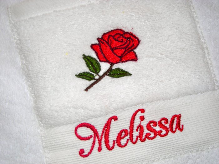 WHITE SPA TOWEL WRAP EMBROIDERED WITH RED ROSE AND NAME!