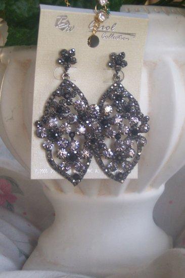 Black Crystal Bling Chandelier Earrings, Dangle, Grey, Silver, Victorian