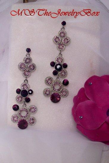Purple, Amethyst  Crystal Art Deco Chandelier Earrings Drop, Dangle