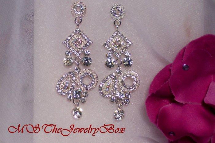 White / Clear Crystal Art Deco Chandelier Earrings, Dangle, Drop