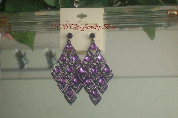 Purple, Amethyst  Crystal Chandelier Earrings Drop, Dangle