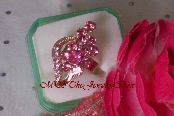 Large Pink Crystal Fashion Cocktail Ring Vintage Look