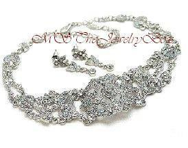 WHITE / CLEAR  VICTORIAN STYLE AUSTRIAN CRYSTAL CHOKER NECKLACE EARRING SET AB