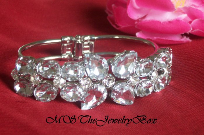 RHINESTONE and CRYSTAL Bridal CHUNKY STYLED HINGED CUFF SILVER CLEAR BRACELET