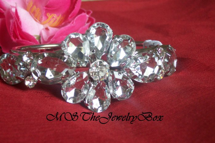 RHINESTONE and CRYSTAL Bridal Flower CHUNKY STYLED HINGED CUFF SILVER CLEAR BRACELET