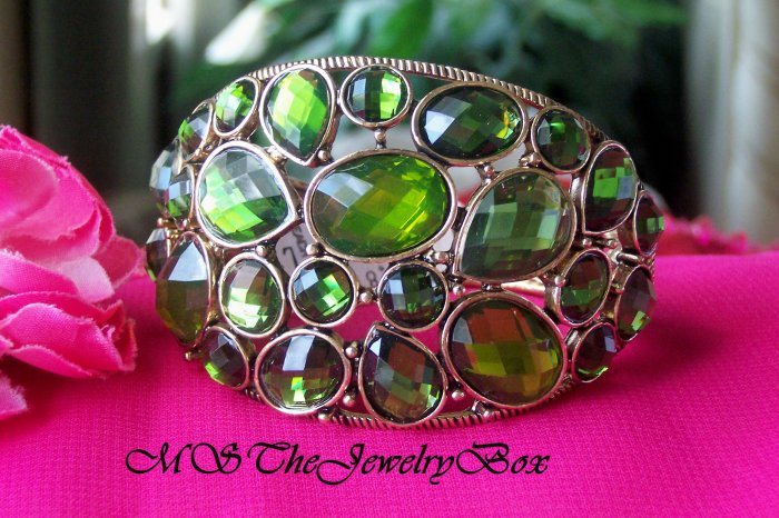 GREEN Emerald CHUNKY trendy Hinged Bracelet  Bangle Faceted Stones
