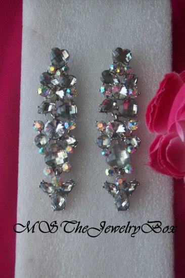 White / Clear Silver Long Bridal Crystal Rhinestone Chandelier Earrings, Dangle, Drop