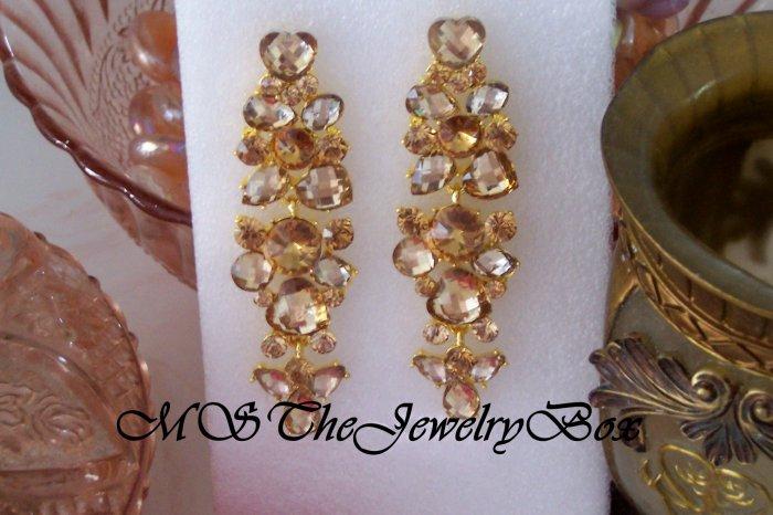 Gold / Topaz, light brown Long Crystal Rhinestone Chandelier Earrings, Dangle, Drop