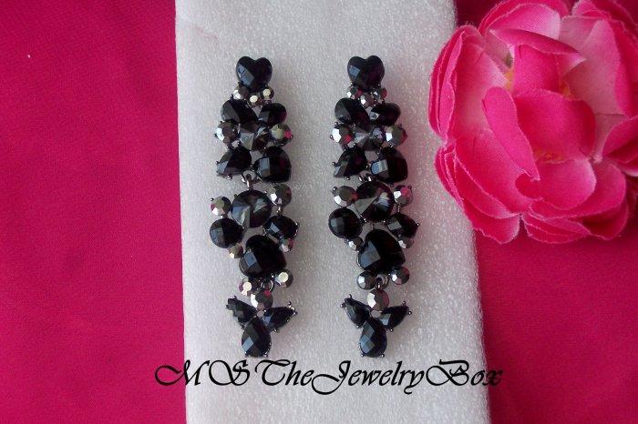 BLACK Long Crystal Rhinestone Chandelier Earrings, Dangle, Drop