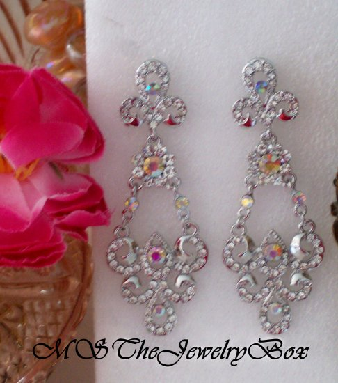 WHITE / CLEAR Scrolled Crystal Chandelier Earrings, Victorian and Vintage inspired, Drop, Dangle