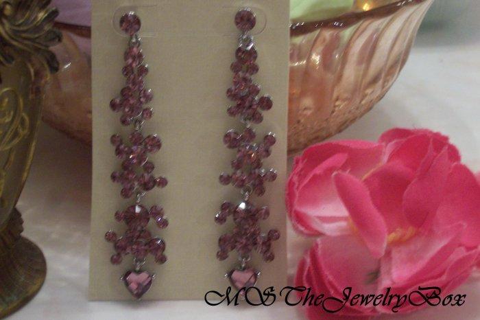 PINK, Light PURPLE, LILAC Crystal Chandelier Earrings Drop, Dangle