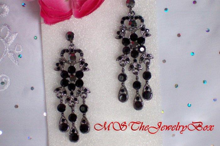 BLACK Hematite Victorian and Vintage styled Crystal Chandelier Earrings Drop, Dangle