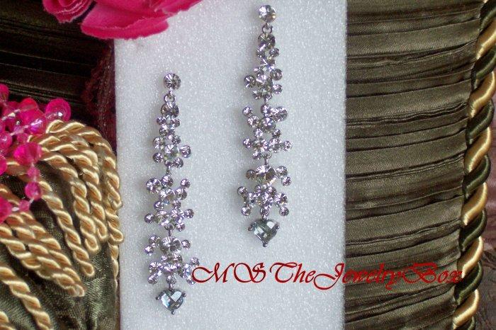 Crystal Long White / Clear Silver Chandelier Earrings Drop, Dangle