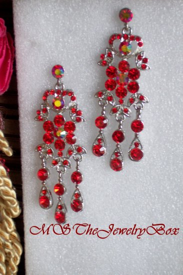 RED / RUBY  Victorian and Vintage styled Crystal Chandelier Earrings Drop, Dangle