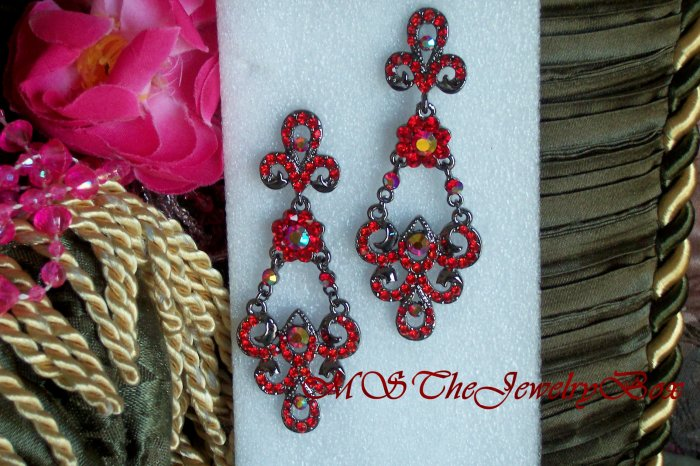 RED RUBY Scrolled Crystal Hematite Chandelier Earrings, Victorian and Vintage inspired, Drop, Dangle