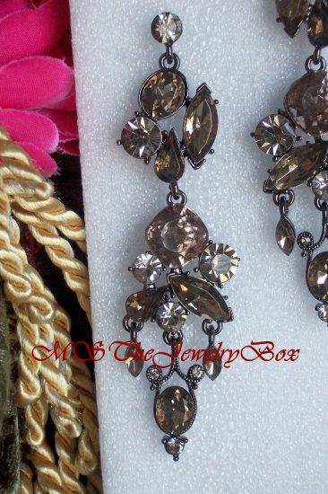 Ash Brown  / Topaz, light brown Art Deco Crystal Rhinestone Chandelier Earrings, Dangle, Drop