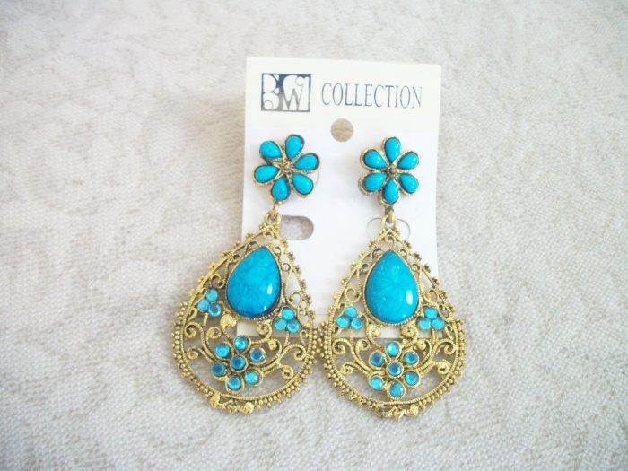 BLUE, GOLD, TURQUOISE, Stone Chandelier Earrings Drop, Dangle
