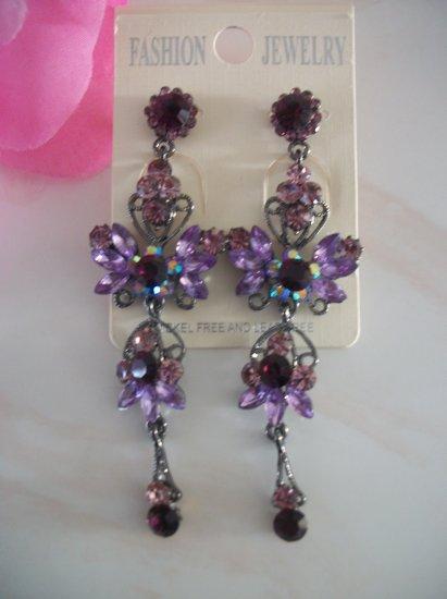 PURPLE, LILAC Silver Crystal Chandelier Earrings, Dangle, Drop