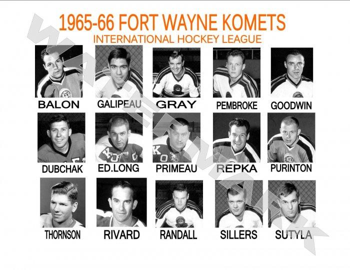 1965-66 FORT WAYNE KOMETS HEADSHOTS TEAM PHOTO