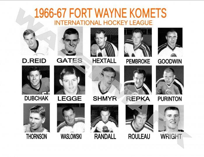 1966-67 FORT WAYNE KOMETS HEADSHOTS TEAM PHOTO