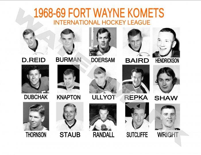1968-69 FORT WAYNE KOMETS HEADSHOTS TEAM PHOTO
