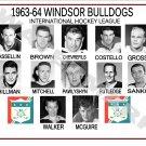 1963-64 WINDSOR BULLDOGS IHL HEADSHOTS TEAM PHOTO