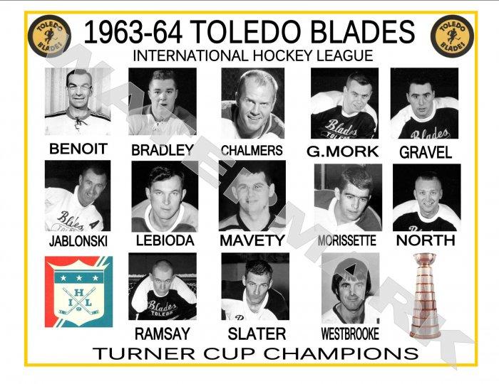 1963-64 TOLEDO BLADES IHL HEADSHOTS TEAM PHOTO