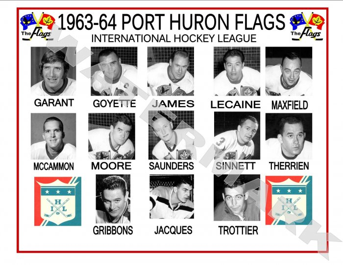 1963-64 PORT HURON FLAGS IHL HEADSHOTS TEAM PHOTO