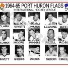 1964-65 PORT HURON FLAGS IHL HEADSHOTS TEAM PHOTO
