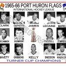 1965-66 PORT HURON FLAGS IHL HEADSHOTS TEAM PHOTO