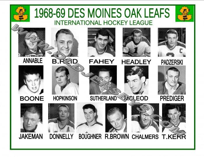 1968-69 DES MOINES OAK LEAFS IHL HEADSHOTS TEAM PHOTO