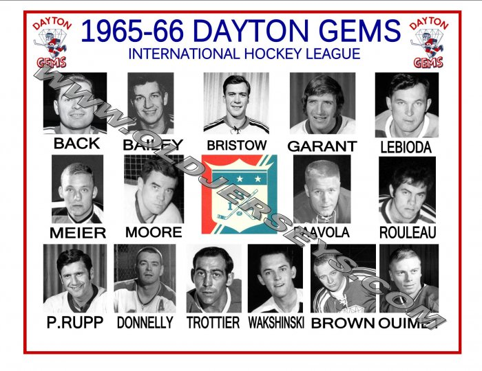 1965-66 DAYTON GEMS IHL HEADSHOTS TEAM PHOTO