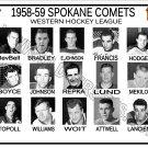 1958-59 SPOKANE COMETS WHL HEADSHOTS TEAM PHOTO