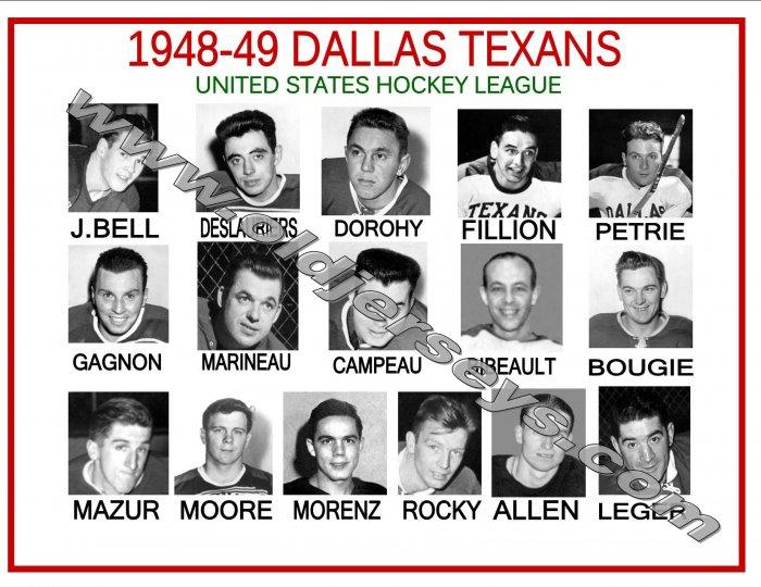 1948-49 DALLAS TEXANS USHL HEADSHOTS TEAM PHOTO