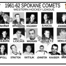 1961-62 SPOKANE COMETS WHL HEADSHOTS TEAM PHOTO
