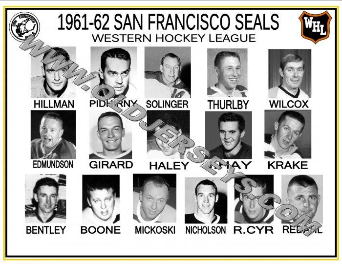 1961-62 SAN FRANCISCO SEALS WHL HEADSHOTS TEAM PHOTO