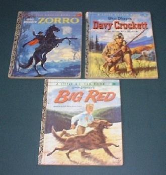 Disney Little Golden Books Zorro Big Red, Davy Crockett