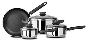 Kitchen Basics 7 Piece Stainless Steel Set with Non-stick Frypan