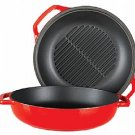 2-in-1 - 25cm Red Casserole with Grill Pan Lid
