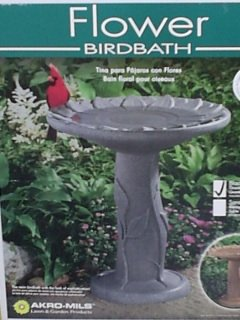 Flower Bird Bath-Black Granite