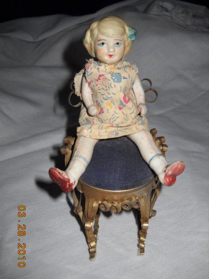 """Antique Bisque Doll - 5 1/2"""" Movable Arms & Legs"""