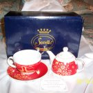 SORELLE Fine Porcelain 4 Piece Christmas Tea For One Set w/Reindeer