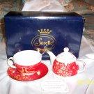 SORELLE Fine Porcelain 4 Piece Christmas Tea For One Set w/Reindeer