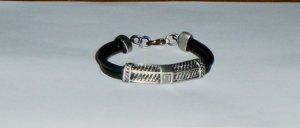 Black Leather Double String Bracelet w/G Scaled Steel CharmNEW!