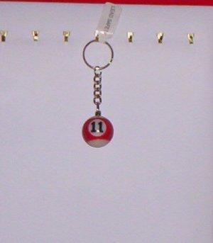 Pool Ball Key Ring Billiard #11 Orange Stripes Key Chain New!