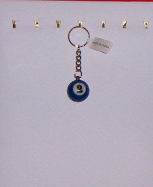 Pool Ball Key Ring Billiard #2 Blue Solid Key Chain New!
