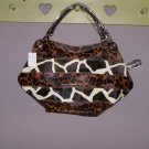 Giraffe Cheetah Design Purse Handbag Tote Brown Black New!