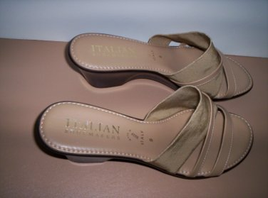 Ladies New Italian Shoemakers Wedge Sandals Italy Sz. 9 Tan Beige